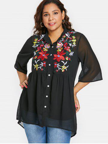Plus Size Embroidered Sheer High Low Blouse