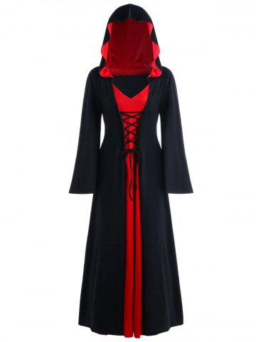 Halloween Robe Maxi à Capuche à Lacets Grande Taille  - RED WITH BLACK - XL