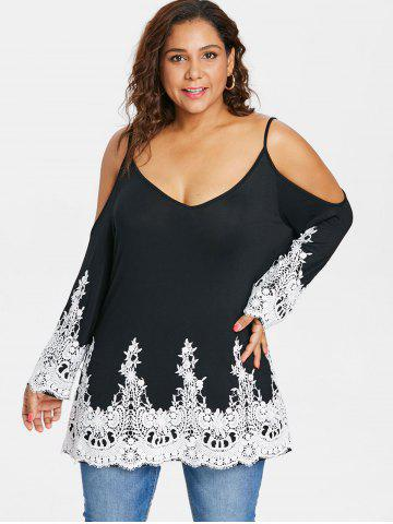 Rosegal Plus Size Lace Trim Cold Shoulder T-shirt