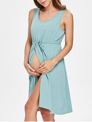 Sleeveless Drawstring Maternity Dress