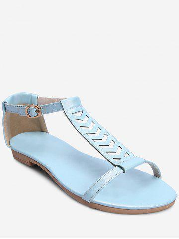 Plus Size Flat Heel Buckled T Strap Sandals