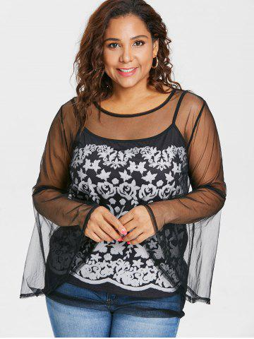 Plus Size Mesh Top with Camisole