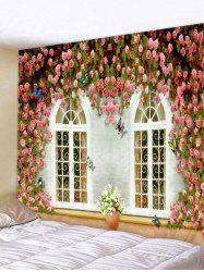 Flowers Windows Printed Wall Decor Tapestry -