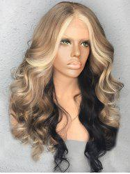 Long Colormix Center Parting Fluffy Wavy Synthetic Wig -