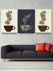 Coffee Cup Print Unframed Split Canvas Paintings -