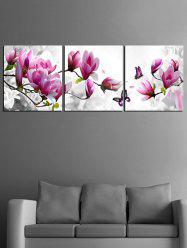 Flowers and Butterfly Print Unframed Split Canvas Paintings -