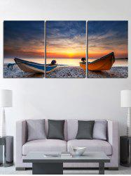 Sunset Beach Boat Print Unframed Split Canvas Paintings -