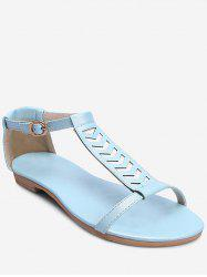Plus Size Flat Heel Buckled T Strap Sandals -