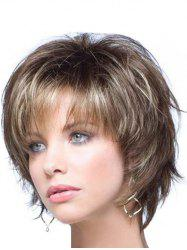 Shaggy Fashion Short Capless Blonde Mixed Brown Heat Resistant Fiber Side Bang Wavy Women's Wig -