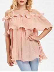 Cold Shoulder Overlay Pleated Blouse -