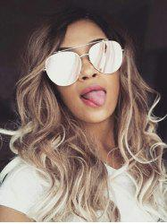 Long Inclined Bang Colormix Wavy Synthetic Wig -