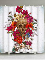 Flowers and Skull Print Waterproof Bathroom Shower Curtain -