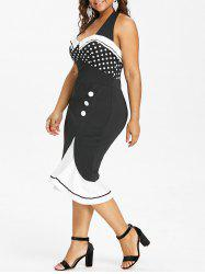 Plus Size Retro Halter Neck Fishtail Dress -
