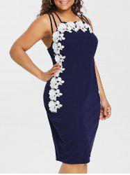 Plus Size Floral Applique Strappy Fitted Dress -