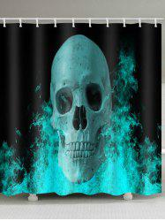 Skull Fire Print Waterproof Bathroom Shower Curtain -