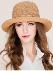 Stylish Wide Brim Foldable Holiday Straw Hat -