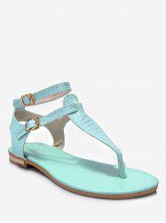 Plus Size Leisure Buckled T Strap Thong Sandals -