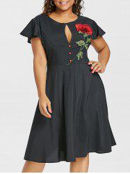 Plus Size Cutout Vintage Fit and Flare Dress -