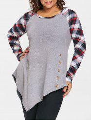 Plus Size Raglan Sleeve Plaid Panel Asymmetric Top -