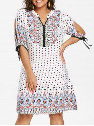 Plus Size Geometric Split Sleeve Dress -