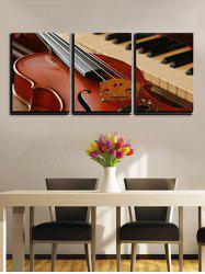 Elegant Guitar Piano Print Canvas Wall Art -