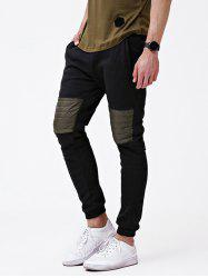 Knee Patchwork Pocket Casual Jogger Pants -