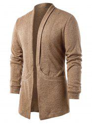 Solid Color Pocket Design Cardigan -