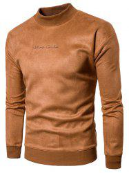 Chest Letter Print Solid Long Sleeve Suede Sweatshirt -