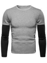 Contrast Fake Two Piece Sleeve Thick Sweatshirt -