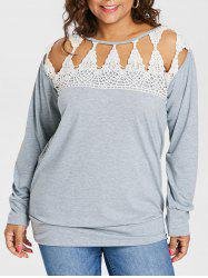Plus Size Crochet Lace Sweatshirt -
