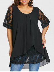 Plus Size Overlap High Low Hem Blouse -