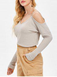 Open Shoulder V Neck Sweater -