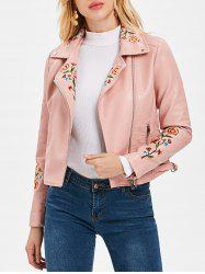 Embroidered PU Motorcycle Jacket -