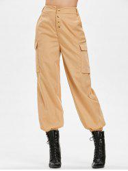 Side Pockets Elastic Waist Pants -