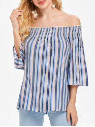 Off The Shoulder Striped Blouse -
