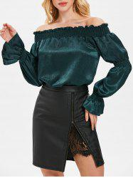 Shirred Detail Off Shoulder Blouse -
