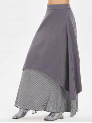 Gingham Panel High Waist Maxi Skirt -