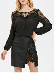 Sheer Lace Panel Front Tie Chiffon Blouse -