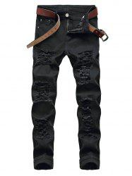 Destroyed Zip Fly Straight Leg Jeans -