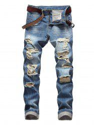 Distressed Zip Fly Light Wash Jeans -