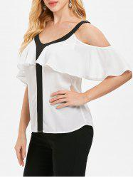 Cold Shoulder V Neck Blouse -