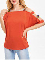 Square Neck Ladder Cut Out T-shirt -