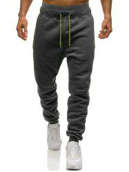 Knee Seam Zipper Pockets Sports Fleece Jogger Pants -