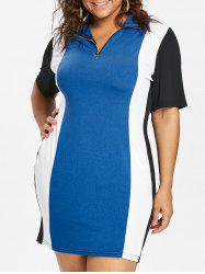 Color Block Plus Size Zipper Embellished Mini Dress -