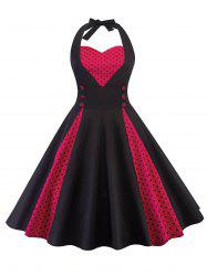 Polka Dot Insert Halter Neck Vintage Dress -