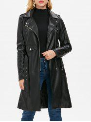Faux Leather Lapel Zipper Coat -