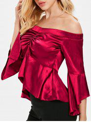 Silk Like Off Shoulder Ruched Metallic Blouse -
