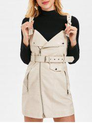 Faux Leather Pinafore Dress with Belt -