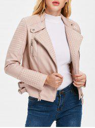 Oblique Zipper PU Biker Jacket -