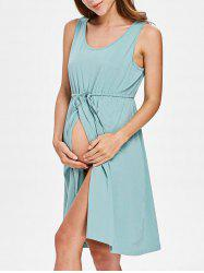 Sleeveless Drawstring Maternity Dress -
